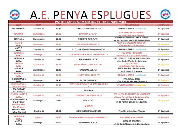 Agenda del cap de setmana de l'11 i 12 de novembre. || Agenda del fin de semana del 11 y 12 de noviembre.