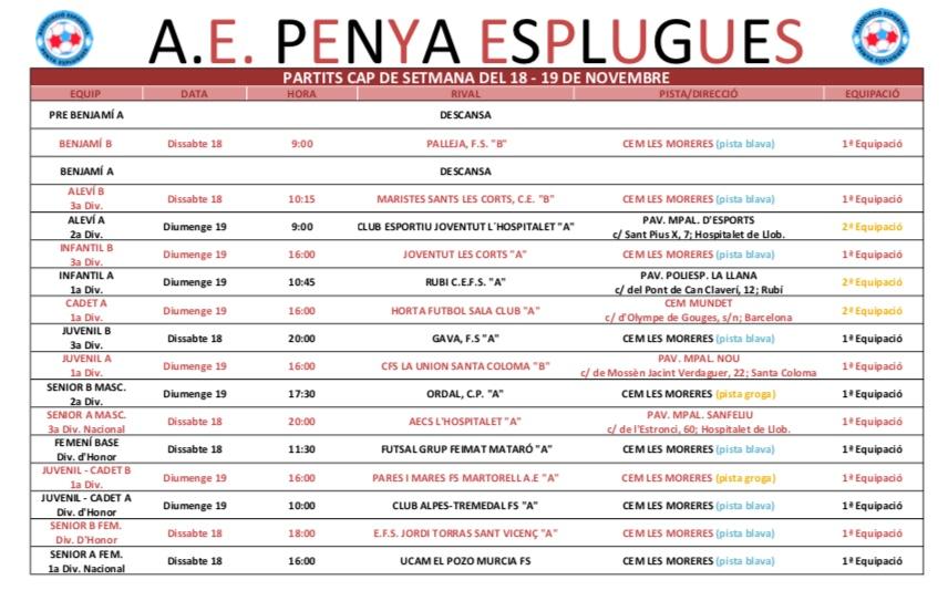 Agenda de partits del 18-19/11/2017