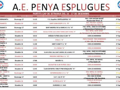 Partits Del Cap De Setmana 16 I 17/12/2017