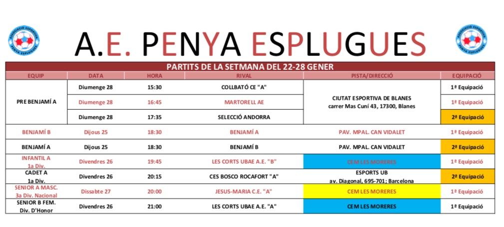 Agenda dels partits 27 i 28 de gener