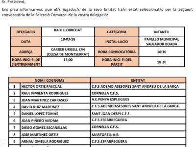 Joan Martinez Carrasco Convocat Amb La Selecció Comarcal Del Baix Llobregat