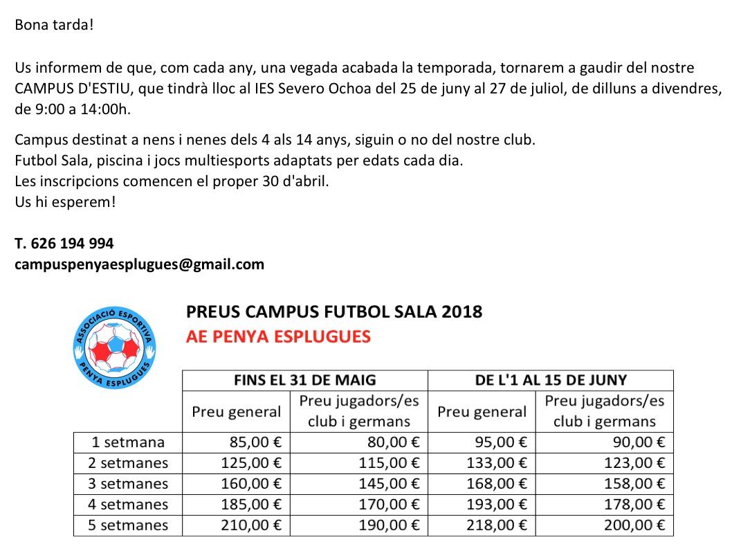 INFORMACIÓ CAMPUS D'ESTIU