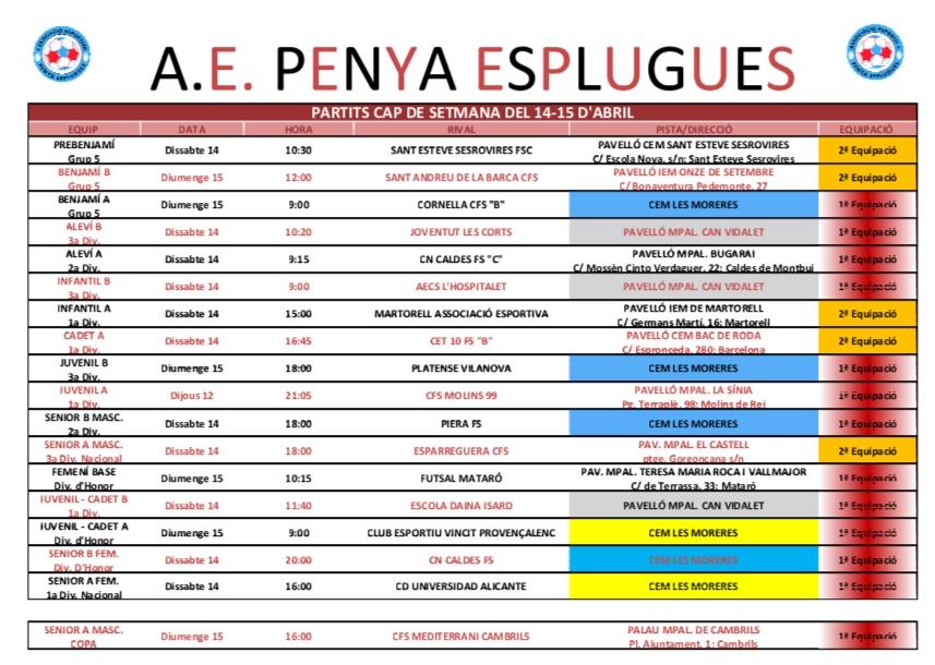 Agenda De Partits Del Cap De Setmana | Agenda De Partidos Del Fin De Semana