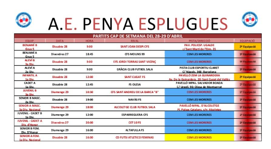 Agenda De Partits | Agenda De Partidos 28-29/04/2018