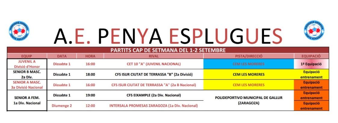 Agenda De Partits Del Cap De Setmana | Agenda De Partidos Del Fin De Semana. 1-2/9/2018