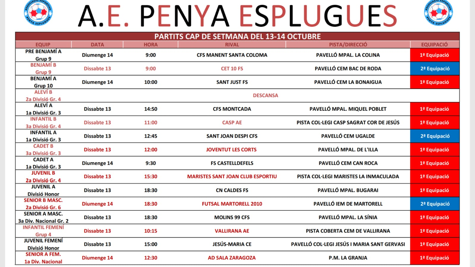 Agenda De Partits Del Cap De Setmana | Agenda De Partidos Del Fin De Semana 13-14/10/2018